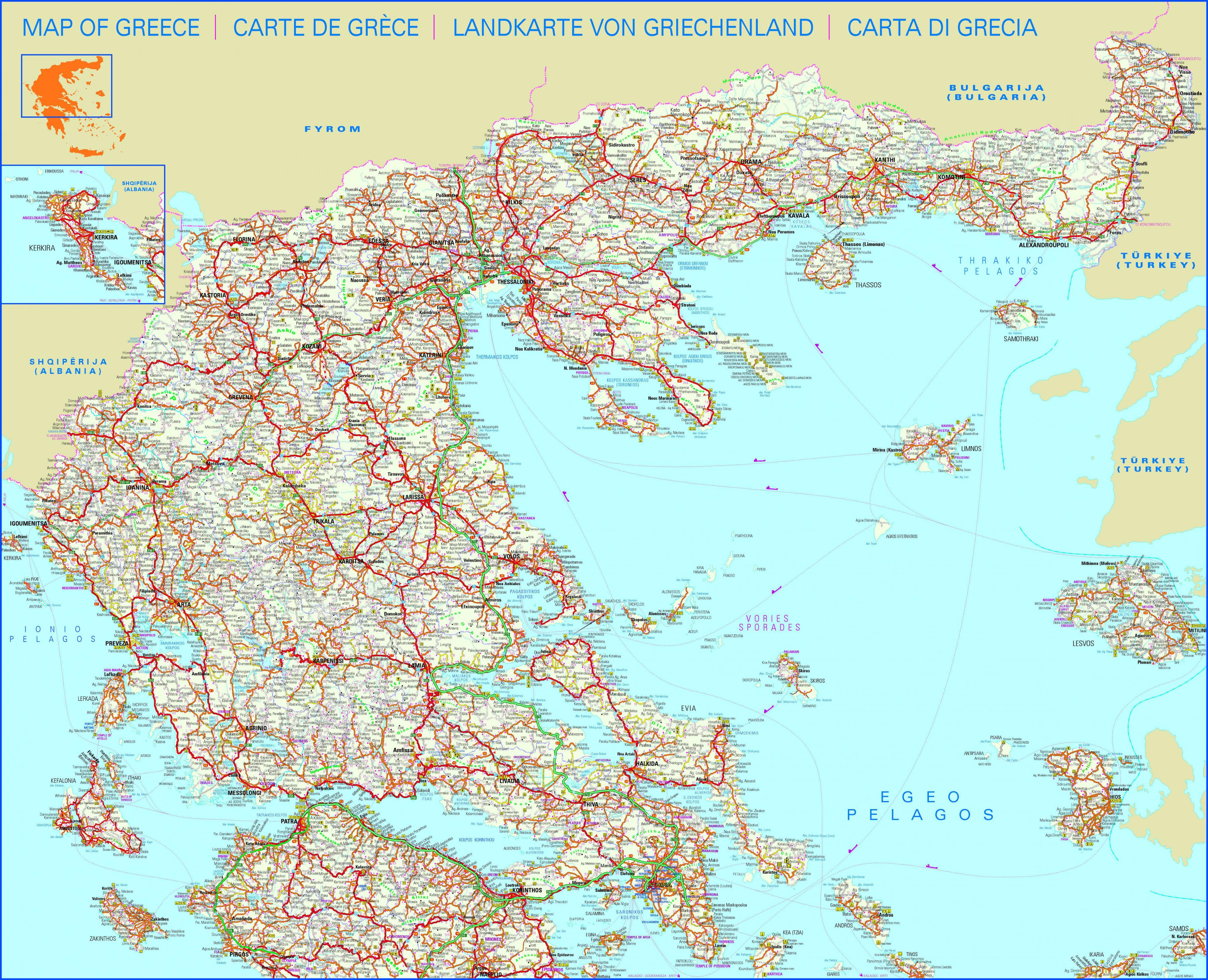 Cartina Geografica Europa Meridionale.Grecia Mappa Stradale Mappa Stradale Di Grecia Europa Del Sud Europa