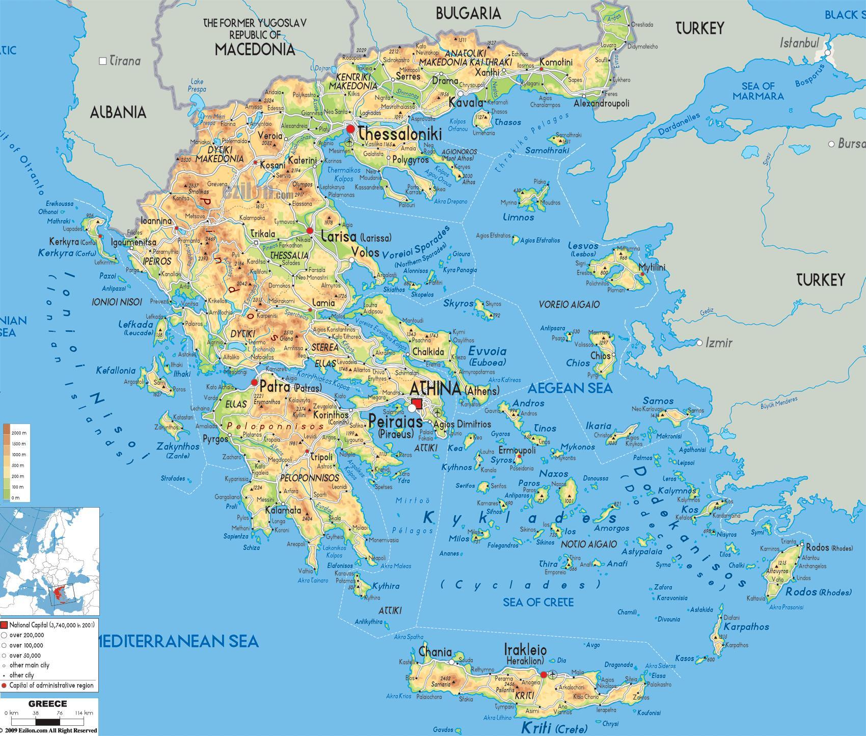 Cartina Geografica Europa Meridionale.Grecia Geografia Cartina Mappa Geografica Della Grecia Europa Del Sud Europa