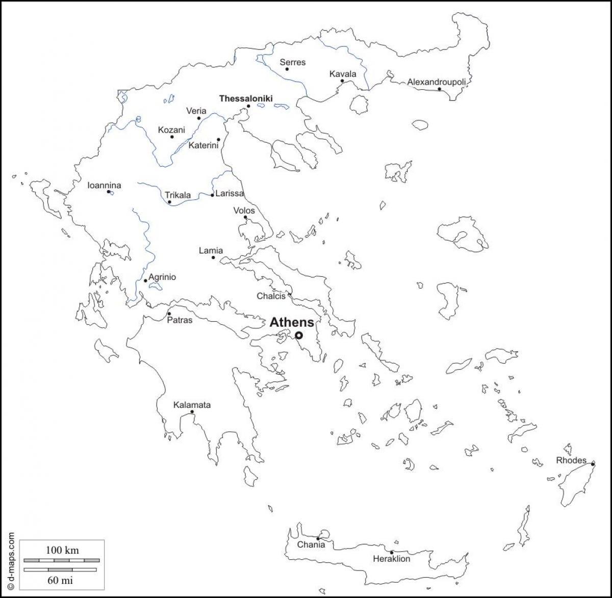 Grecia mappa in bianco e nero mappa della grecia in for Cartina della grecia antica da stampare