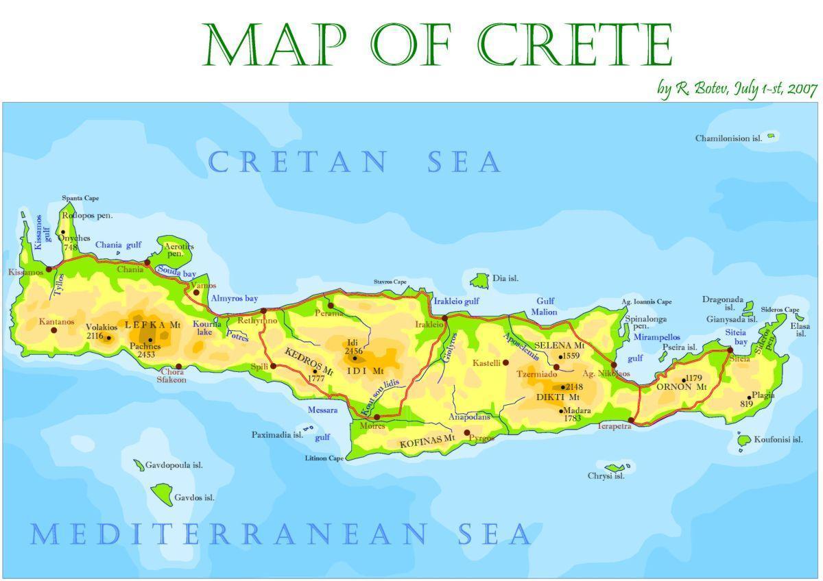 Cartina Geografica Dell Isola Di Creta.Isola Di Creta Grecia Mappa Creta Grecia Mappa Isola Europa Del Sud Europa
